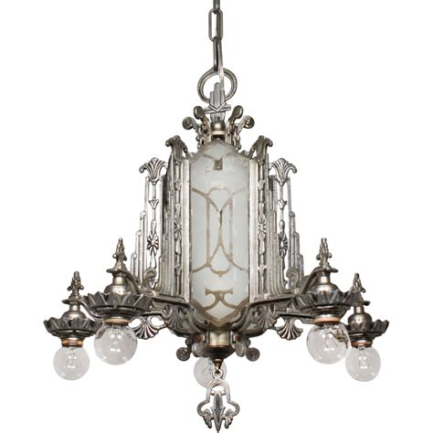 Etched Glass Chandelier Magnificent Antique Deco Chandelier Mirrored And Etched Glass From Rubylane Sold On Ruby