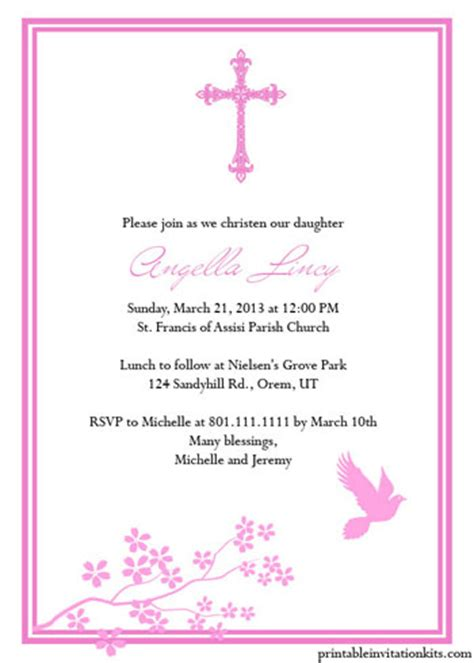 christening invitation template free christening invitation templates for baby boy and