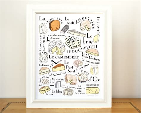 kitchen wall print cheeses for
