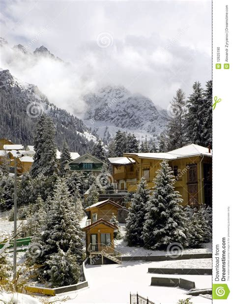 cottage in mountains cottages in winter mountains stock photo image 12625190