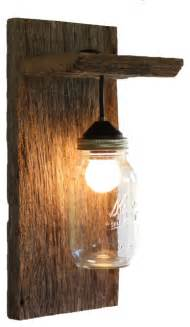 Rustic Wall Sconces Barn Wood Jar Light Fixture Without Rope Detail Rustic Wall Sconces By Grindstone
