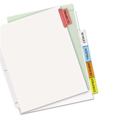 avery big tab 5 tab template ave11220 avery insertable big tab dividers zuma