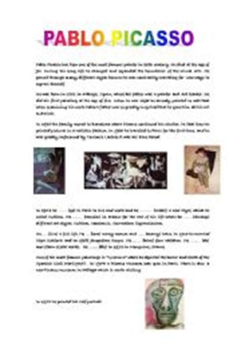 picasso biography for elementary students english teaching worksheets picasso