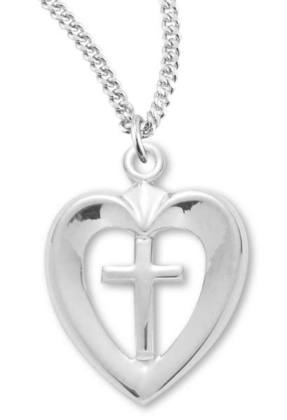 Women's Sterling Silver Open Heart Necklace with Cross