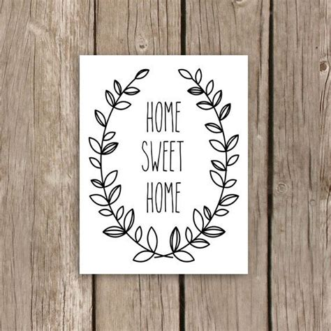 printable house quotes home sweet home printable art laurel wreath black and
