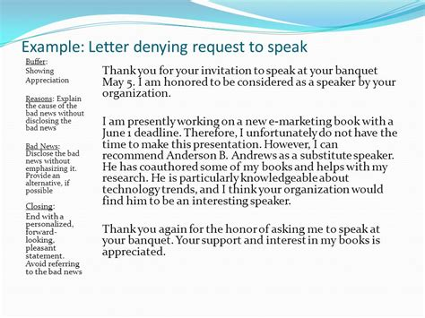 Business Letter Denying Request Acceptance Positive Image Ppt