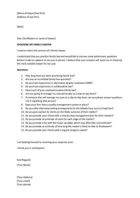 Divorce Demand Letter A Letter To A Family Divorce Lawyer With Questions Before Engagement