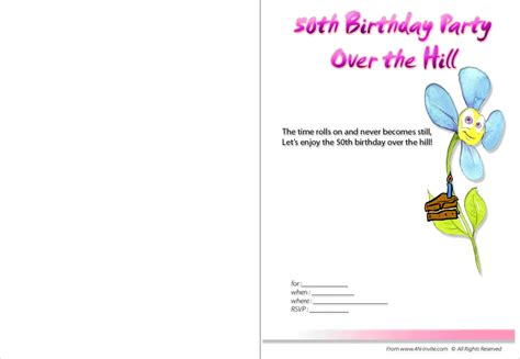 free 50th birthday invitation templates printable 50th birthday invitations templates
