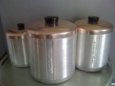 mid century canister set retro kitchen bling vintage kitchen canister set of 3 aluminum copper retro