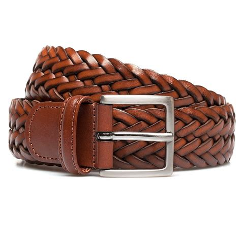 andersons brown calf leather woven belt in brown for