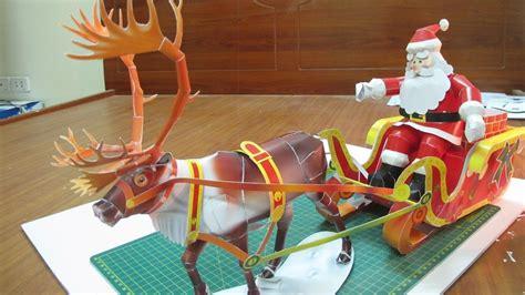 santa on the sleigh kids crafts santa claus 3d model reindeer sled santa claus ideas