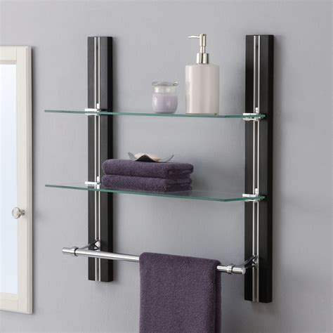 bathroom shelving ideas for towels oia 19 63 quot w x 22 5 quot h two tier bathroom shelf with towel bar reviews wayfair bathroom