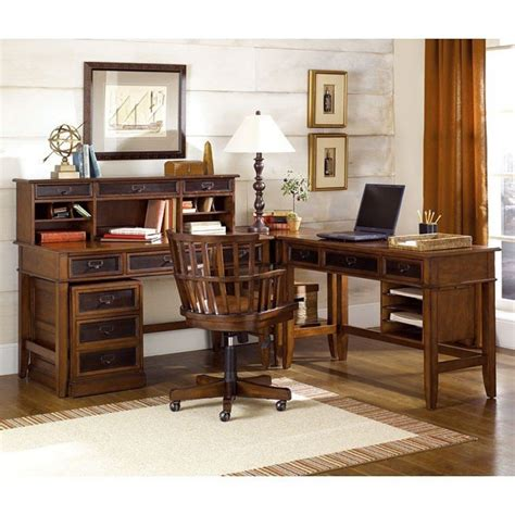 home l sets mercantile l shaped home office set hammary