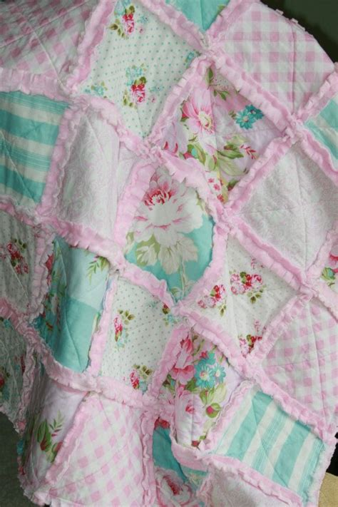 shabby chic rag quilt baby girl rag quilt pink blue