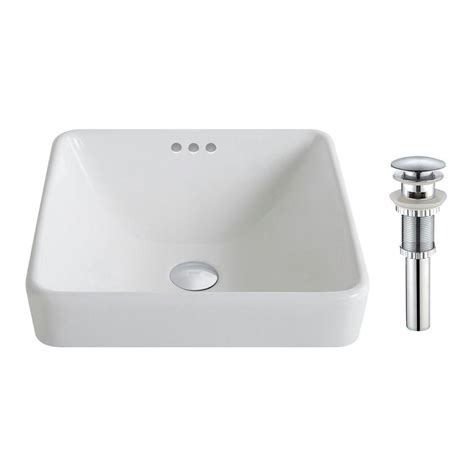 Kraus Bathroom Sinks by Kraus Elavo Series Square Ceramic Semi Recessed Bathroom Sink In White With Overflow And Pop Up