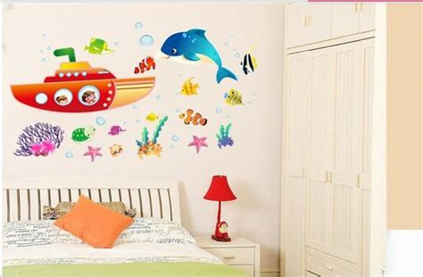 Wall Sticker Submarine Mermaid Jm7262 undersea world fish shark whale submarine mermaid living room decoration removable pvc wall