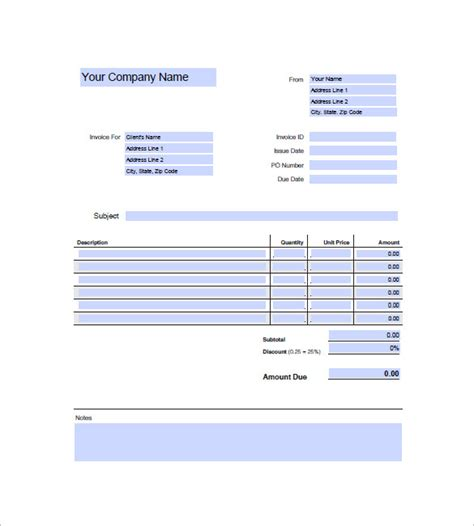 generic invoice template word generic invoice template 8 free word excel pdf format