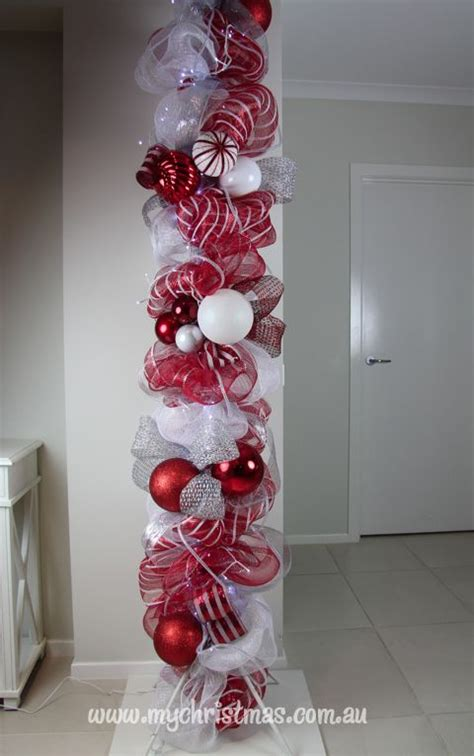 how to decorate indoor column for xmas decorating your home pole vanoce deco mesh