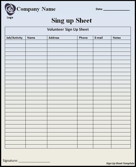 volunteer sign up sheet templates volunteer sign up sheet template free