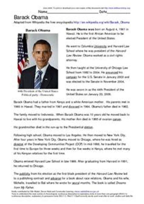 biography barack obama english barack obama reading activity 3rd 6th grade worksheet