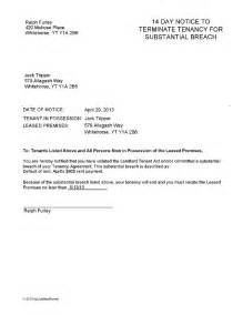 Tenant Lease Termination Letter by Yukon 14 Day Substantial Breach Termination Notice Ez Landlord Forms
