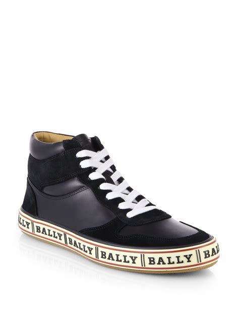 Bally Top lyst bally logo soled leather high top sneakers in black
