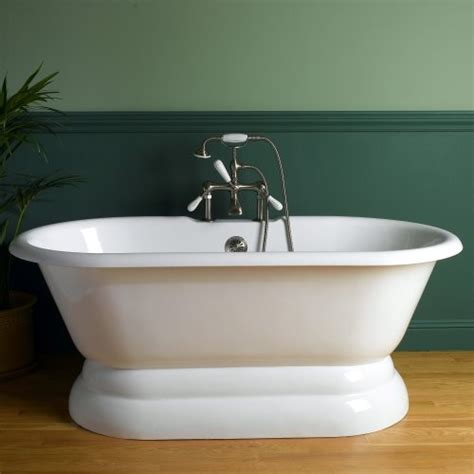 sunrise 66 in classic pedestal cast iron freestanding tub