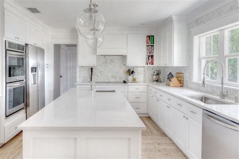 The Kitchen Roseland Project White And Grey Kitchen White Kitchen Cabinets With White Countertops