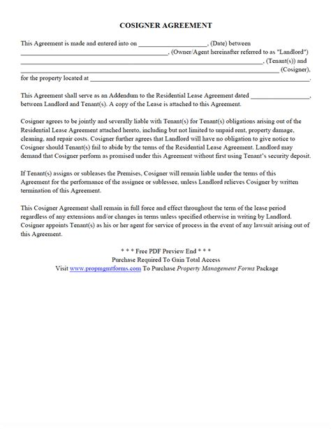Property Management Forms Contracts Agreements Templates Download Save Print Cosigner Contract Template
