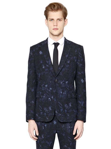 Valentino Suit lyst valentino butterfly printed wool suit in blue for