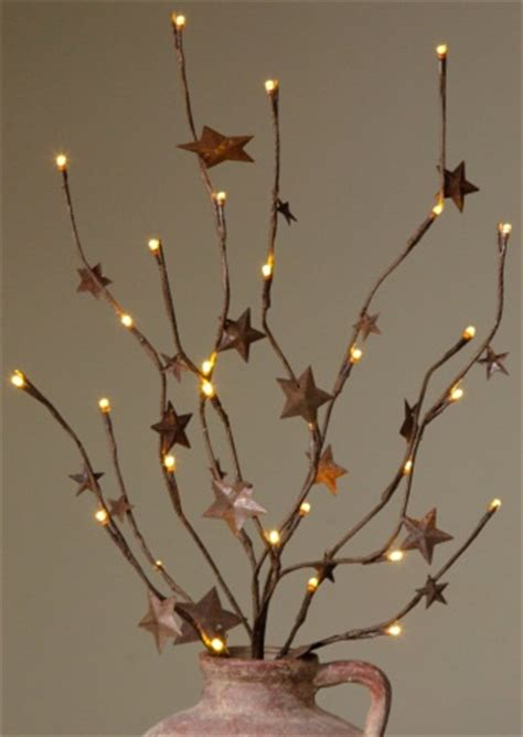 rusty star lighted twig branch primitives pinterest