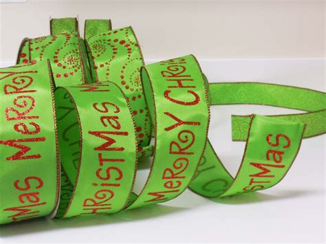 5yds lime green glittering red quot merry christmas quot wreath