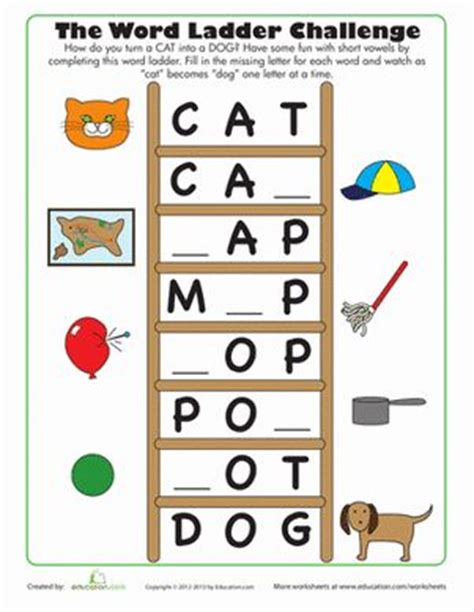 Word Ladder Worksheets by Word Ladder Challenge Phonics Worksheets Ladder And