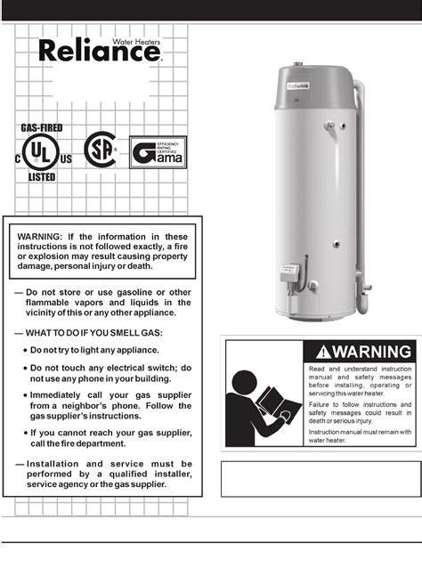 reliance gas water heater manual reliance water heaters water heater he50 76n 100