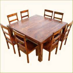 Square Dining Table 8 Chairs Rustic 9 Pc Square Dining Room Table For 8 Person Seat Chairs Set Furniture New Ebay
