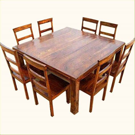 Rustic 9 Pc Square Dining Room Table For 8 Person Seat Square Dining Table With 8 Chairs