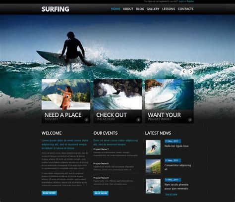 cool design inspiration sites drupal designed surfing website client surf school