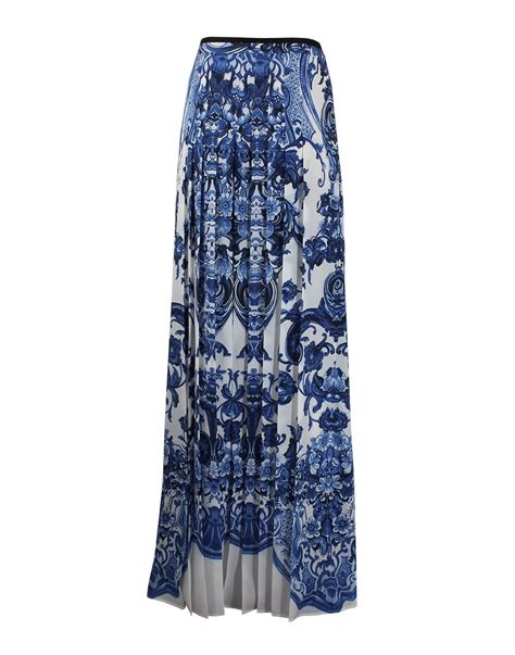 roberto cavalli maxi length pleated skirt in blue lyst