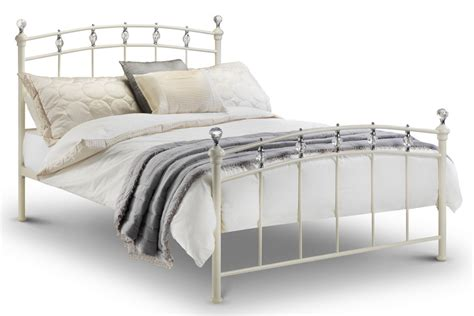 white metal bed frame abdabs furniture sophie stone white metal bed frame double