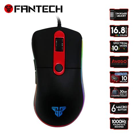 aliexpress buy fantech x6 wired gaming macro mouse usb optical rgb lights mouse gamer 4000