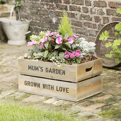 Wooden Crate Planter by Personalised Wooden Crate Planter By Plantabox