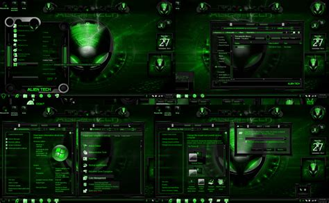 themes for windows 7 custom windows 7 themes alien tech green by customizewin7 on