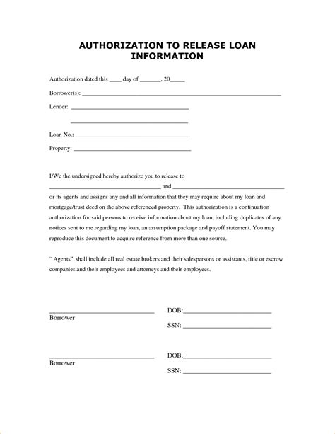 consent for release of information template authorization release form health information