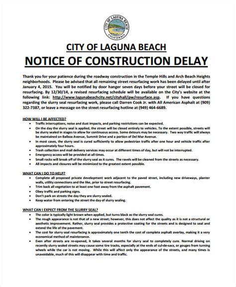 30 Free Notice Templates Free Premium Templates Construction Delay Report Template