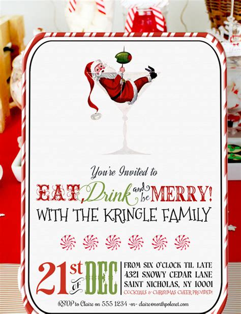 vintage christmas cocktail party retro santa christmas cocktail party invitation