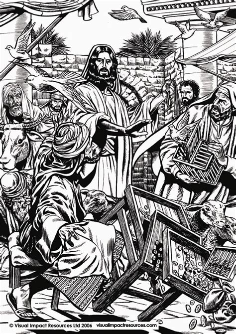 coloring pages jesus clears the temple cleansing the temple coloring page