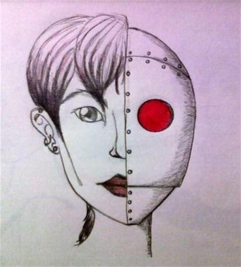 Half Human Half Robot Drawing
