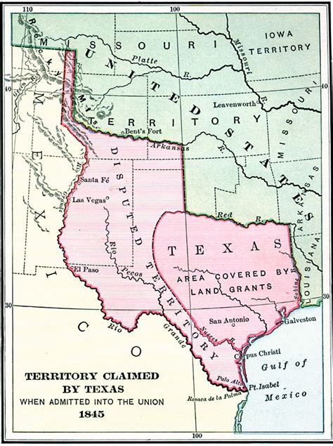 republic of texas map 1845 territory claimed by texas