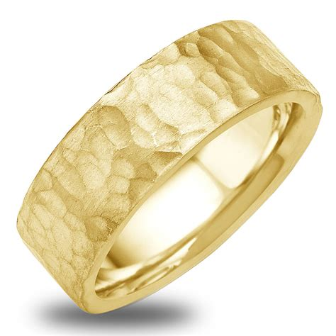 white and gold l 14k 18k white or yellow gold hammered finish mens wedding