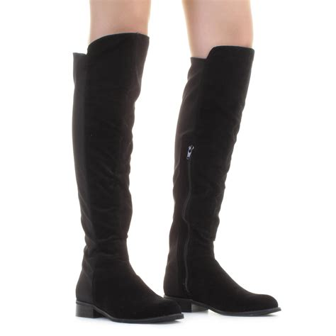 womens suedette flat stretch knee high knee